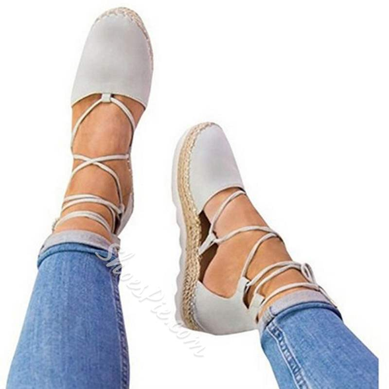 Shoespie Trendy Lace-Up Round Toe Flat Loafers
