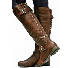 Shoespie Block Heel Rivet Buckle Knee High Boots