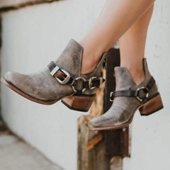 Shoespie Vintage Back Zip Chunky Heel Buckle Ankle Boots