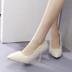 Shoespie Sexy Fluffy Pointed Toe Slip-On Stiletto Heels