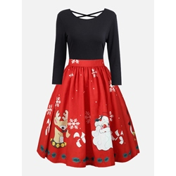 Christmas Long Sleeve Expansion Women's Skater Dress