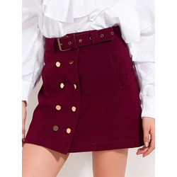 Button Plain Pocket Women's Mini Skirt