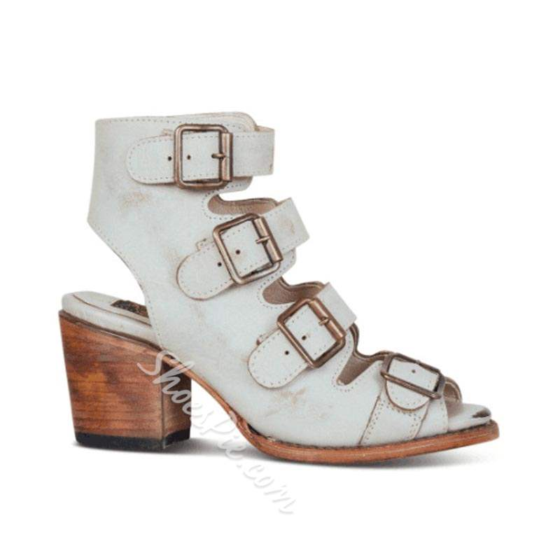 Shoespie Trendy Chunky Heel Buckle Strappy Sandals