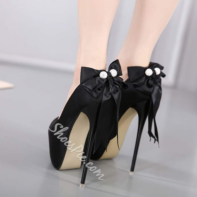 Shoespie Sexy Black Round Toe Bow Stiletto Heels