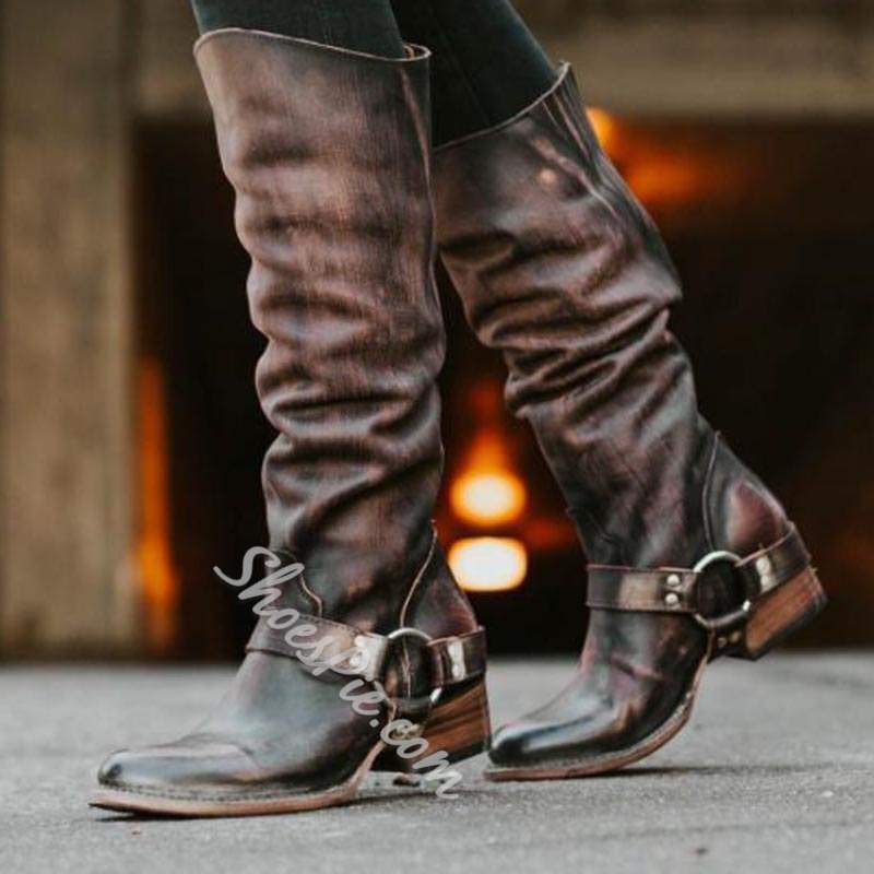 Shoespie Vintage Round Toe Back Zip Knee High Boots