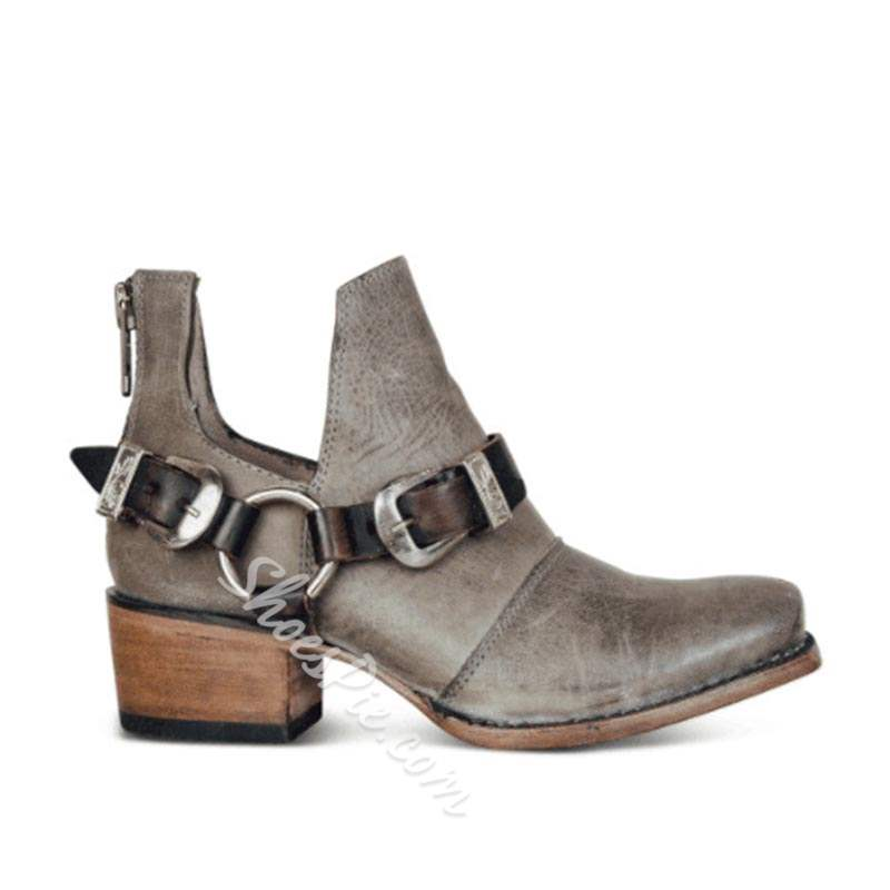 6a548cdeb85 Shoespie Vintage Back Zip Chunky Heel Buckle Ankle Boots- Shoespie.com