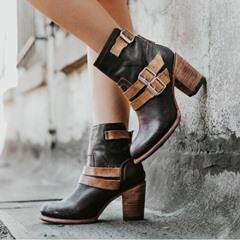 Shoespie Back Zip Chunky Heel Buckle Ankle Boots