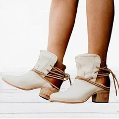 Shoespie Sexy Chunky Heel Round Toe Lace Up Ankle Boots
