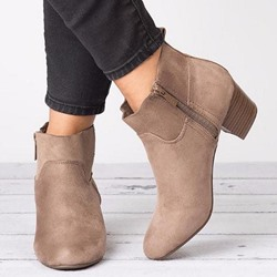 Shoespie Sexy Suede Side Zipper Round Toe Ankle Boots
