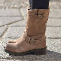 Shoespie Slip-On Block Heel Buckle Ankle Boots