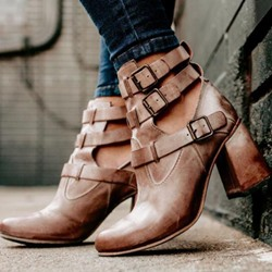 Shoespie Sexy Chunky Hee Hasp Hollow Ankle Boots