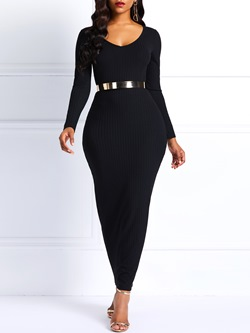 Ankle-Length Long Sleeve Pullover Plain Women's Bodycon Dress