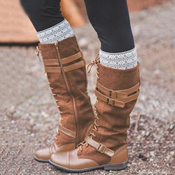 Shoespie Patchwork Lace Up Buckle Knee High Boots