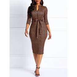Print V-Neck Knee-Length Women's Bodycon Dress