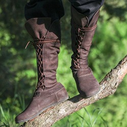 Shoespie Stylish Lace-Up Hidden Elevator Heel Knee High Boots