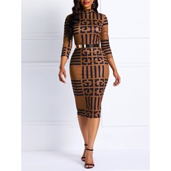 Mid-Calf V-Neck Geometric Women's Bodycon Dress