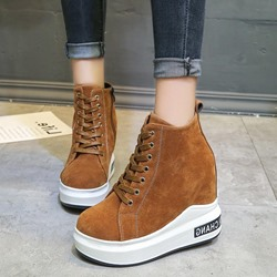 Shoespie Round Toe Hidden Elevator Heel Sneakers