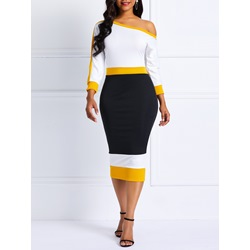 Mid-Calf Patchwork Moderate Women's Bodycon Dress