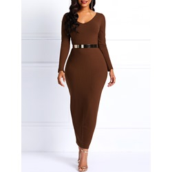 Belt Pullover Long Sleeve Plain Women's Bodycon Dress