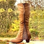 Shoespie Vintage Round Toe Chunky Heel Knee High Boots