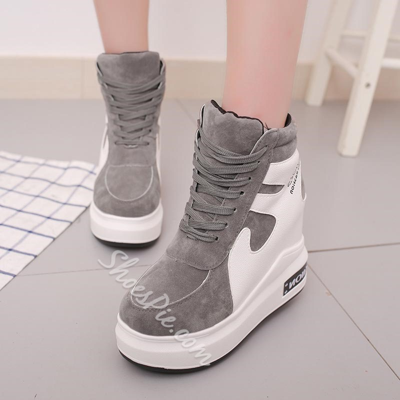 Shoespie Casual High Top Platform Lace-Up Sneakers