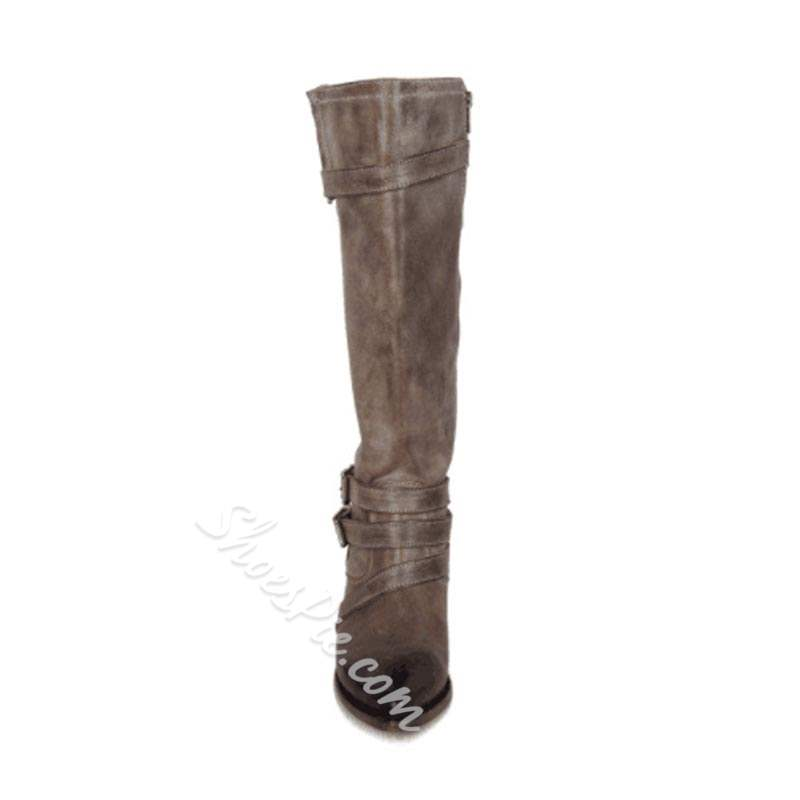 Shoespie Casual Pointed Toe Buckle Knee High Boots