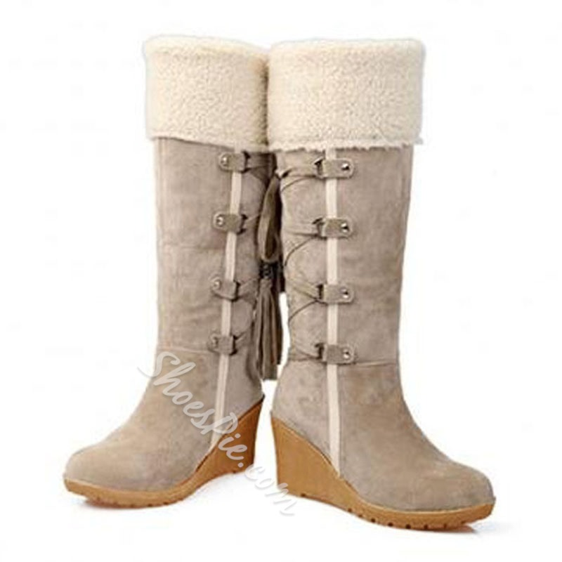 Shoespie Suede Hairy Back Lace Up Wedge Heel Knee High Boots