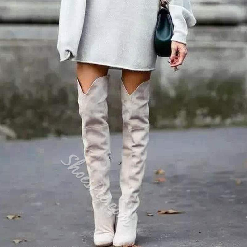 Beige Fashion Stiletto Heel Knee High Boots