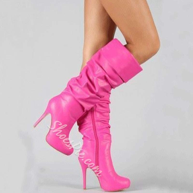 Shoespie Sexy Pink Stiletto Heel Knee High Boots