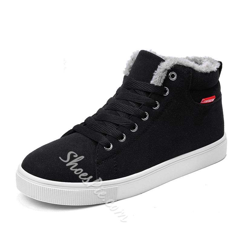 Shoespie High-Cut Upper Lace-Up Round Toe Men's Sneakers