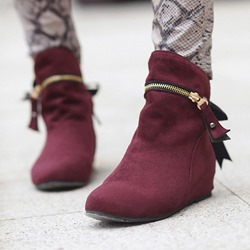 Shoespie Trendy Hidden Elevator Heel Lace-Up Ankle Boots