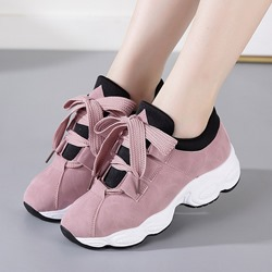 Shoespie Sexy Round Toe Lace-Up Platform Sneakers