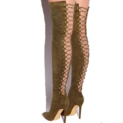 Shoespie Stylish Stiletto Heel HollowThigh High Boots