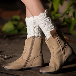 Pure Color Knitted Boot Cuffs with Rippled Edge
