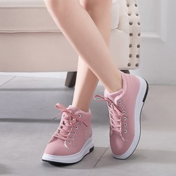 Shoespie Casaul Round Toe Lace-Up Warm Sneakers