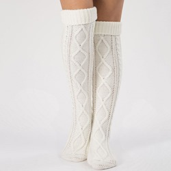 Knee High Lozenge Pattern Knitted Boot Socks