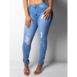 Plain Bead Pencil Pants Slim Women's Jeans