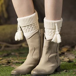 Warmth Knitted Boot Cuffs with Tassel Pendant