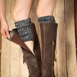 Stripe Knitted Boot Cuffs with Accent Buttons