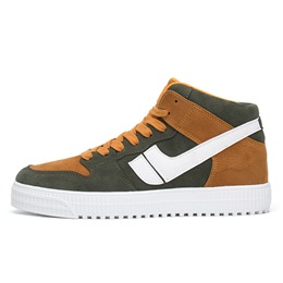 Shoespie Lace-Up High-Cut Upper Color Block Round Toe Skate Shoes