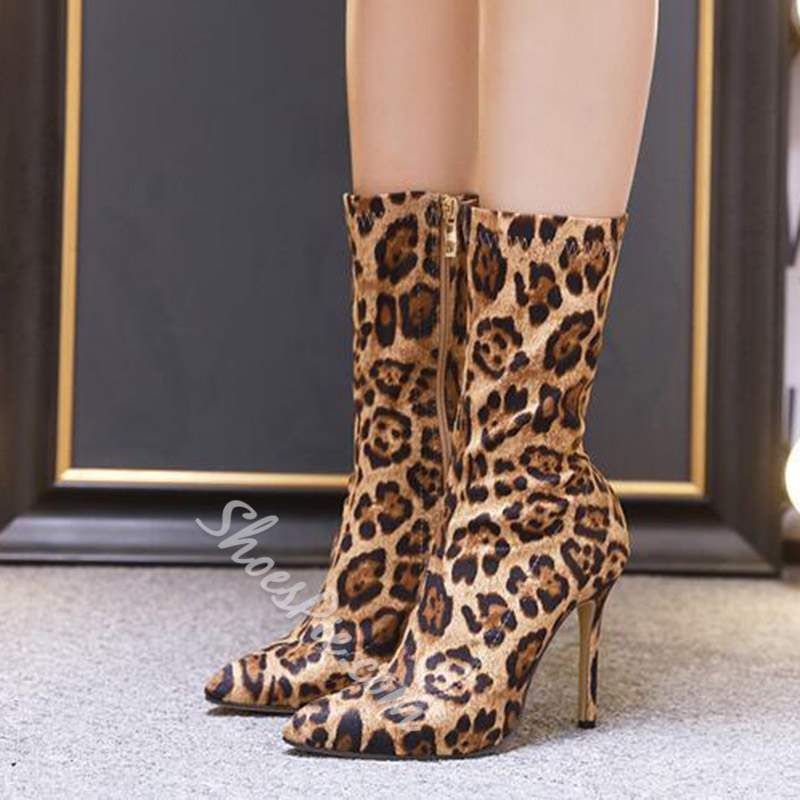 shoespie Stylish Side Zipper Leopard Pointed Toe Ankle Boots