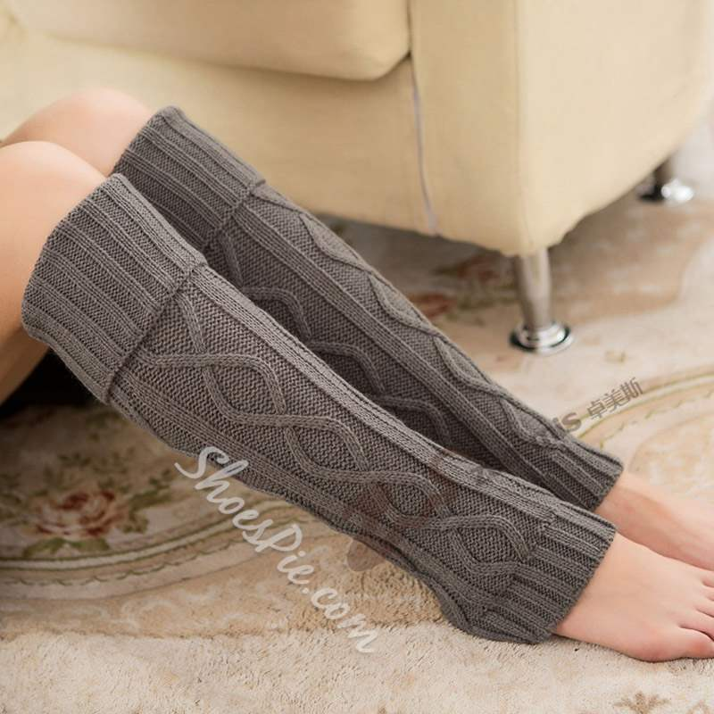 Plain Gray Knitted Leg Warmers