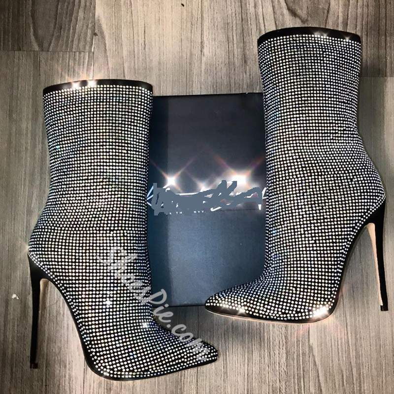 Shoespie Stylish Rhinestone Pointed Toe Ankle Boots