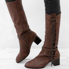 Shoespie Sexy Lace-Up Side Block Heel Knee High Boots
