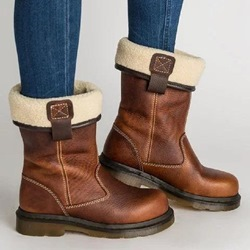 Shoespie Stylish Slip-On Motorcycle Ankle Snow Boots