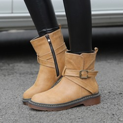Shoespie Casual Block Heel Round Toe Buckle Ankle Boots