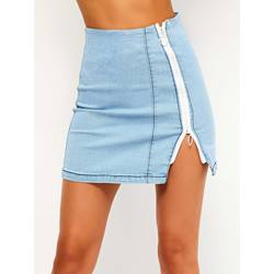 Split Stripe Bodycon Denim Women's Skirt