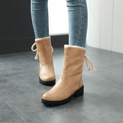 Shoespie Casual Block Heel Round Toe Ankle Snow Boots