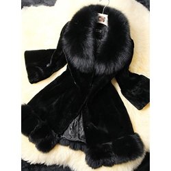 Mid-Length Plain Slim Women's Faux Fur Overcoat