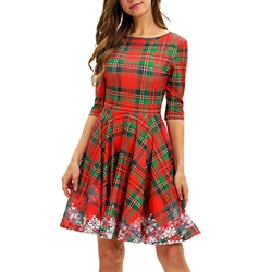 Polyester Plaid Fall Print Women's A-Line Dress
